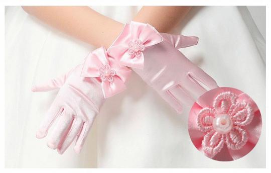 Перчатки из сатина с бантиками